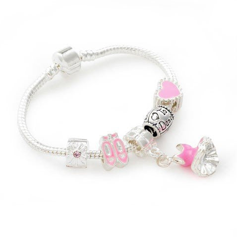 Children's 'Love to Dance' Silver Plated Charm Bead Bracelet
