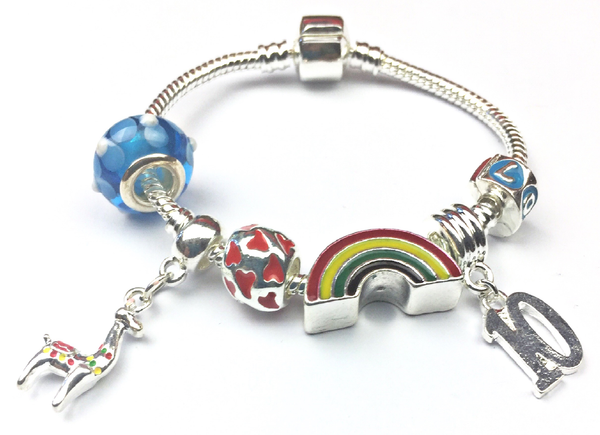 Children's 'Lovely Llama 10th Birthday' Silver Plated Charm Bead Bracelet