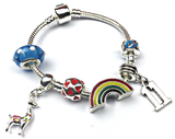 Children's 'Lovely Llama 11th Birthday' Silver Plated Charm Bead Bracelet
