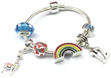 Children's 'Lovely Llama 12th Birthday' Silver Plated Charm Bead Bracelet