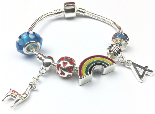 Children's 'Lovely Llama 4th Birthday' Silver Plated Charm Bead Bracelet