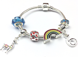 Children's 'Lovely Llama 6th Birthday' Silver Plated Charm Bead Bracelet