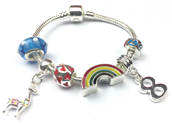 Children's 'Lovely Llama 8th Birthday' Silver Plated Charm Bead Bracelet