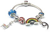 Children's 'Lovely Llama 9th Birthday' Silver Plated Charm Bead Bracelet