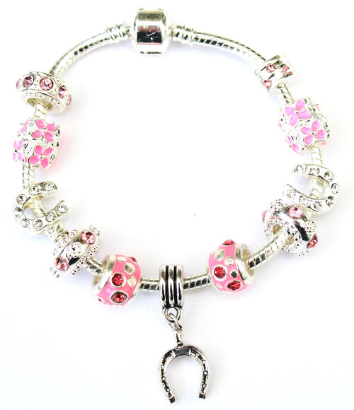 Adult's 'Pink Sparkle Good Luck Horseshoe' Silver Plated Charm Bracelet