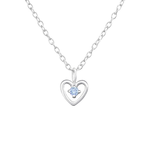 Children's Sterling Silver 'December Birthstone' Heart Necklace