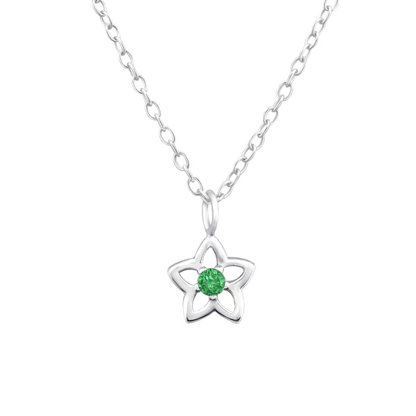 Children's Sterling Silver 'May Birthstone'  Star Flower Necklace