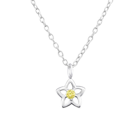Children's Sterling Silver 'September Birthstone' Star Flower Necklace