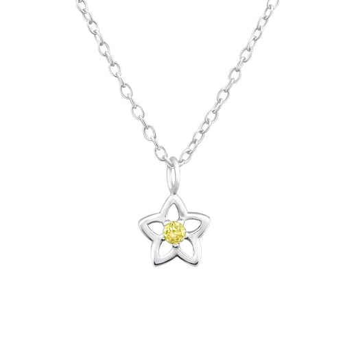Children's Sterling Silver 'November Birthstone' Star Flower Necklace