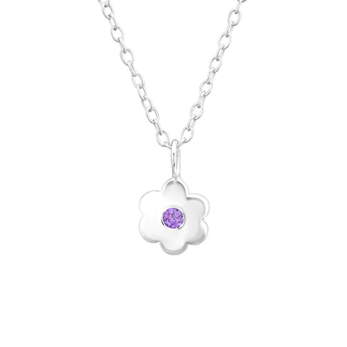 Children's Sterling Silver 'June Birthstone' Solid Flower Necklace