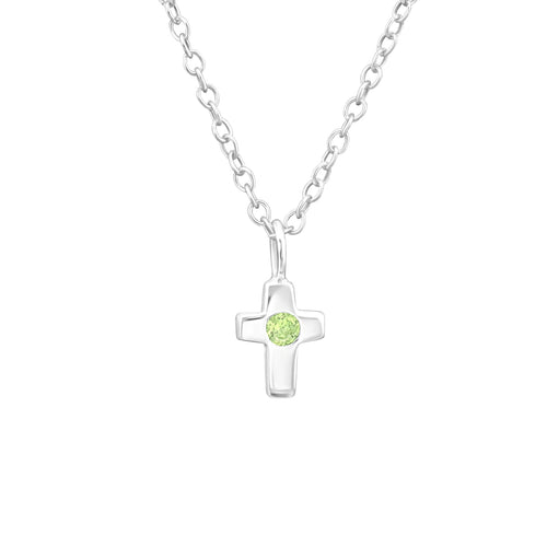 Children's Sterling Silver 'August Birthstone' Cross Necklace