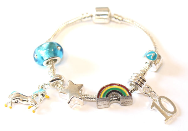 unicorn jewellery, unicorn bracelet, 10th birthday gifts girl and charm bracelet gifts for 10 year old girl