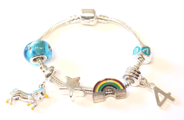 unicorn jewellery, unicorn bracelet, 4th birthday gifts girl and charm bracelet gifts for 4 year old girl