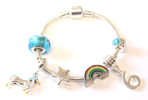 unicorn jewellery, unicorn bracelet, 6th birthday gifts girl and charm bracelet gifts for 6 year old girl