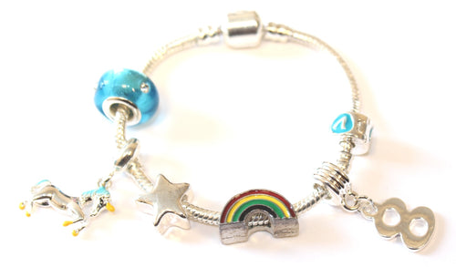 Children's 'Magical Unicorn 8th Birthday' Silver Plated Charm Bead Bracelet