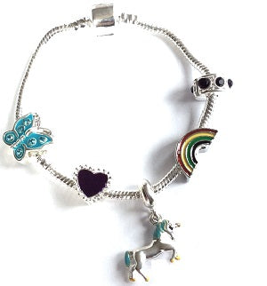 Children's 'Magical Unicorn' Silver Plated Charm Bead Bracelet