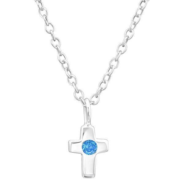 Children's Sterling Silver 'March Birthstone' Cross Necklace