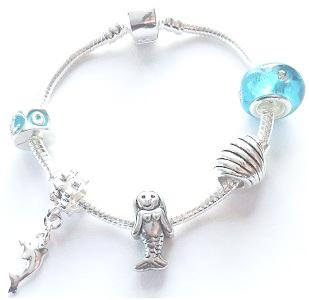 Children's 'Marine Mermaid' Silver Plated Charm Bead Bracelet