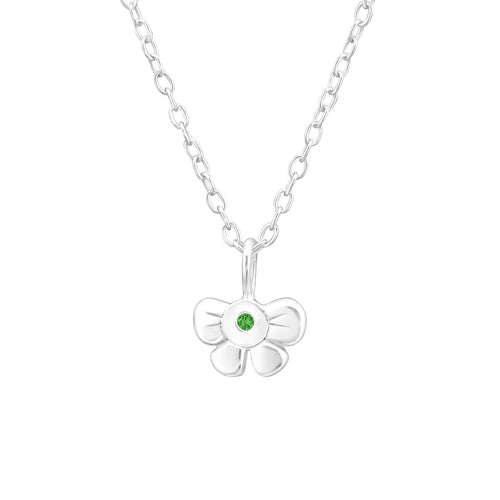 Children's Sterling Silver 'May Birthstone' Bow Necklace