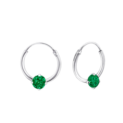 Children's Sterling Silver 'May Birthstone' Hoop Earrings