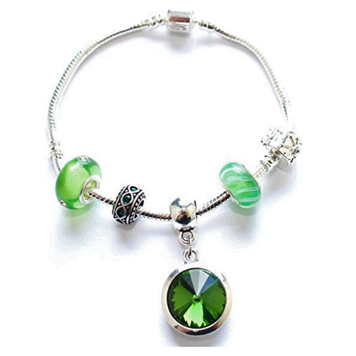 Adult's 'May Birthstone' Emerald Coloured Crystal Silver Plated Charm Bead Bracelet
