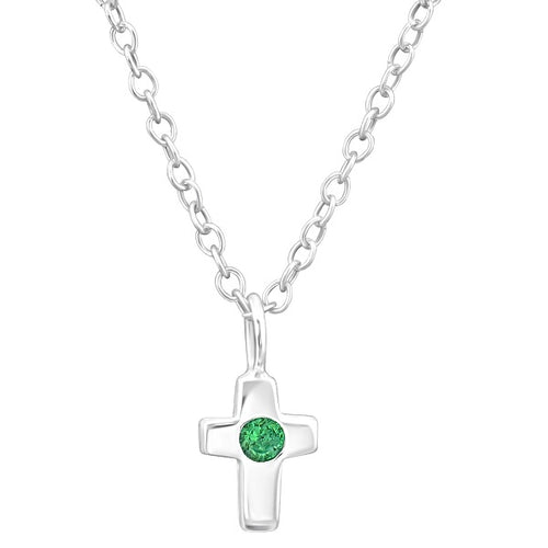 Children's Sterling Silver 'May Birthstone' Cross Necklace