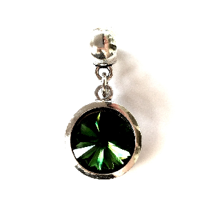 Adult's May Birthstone Emerald Coloured Crystal Drop Charm