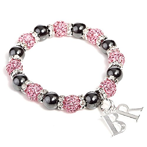 Liberty Charms 'Mayfair Duo Starlet' Pink Czech Crystal and Haematite Stretch Bracelet.