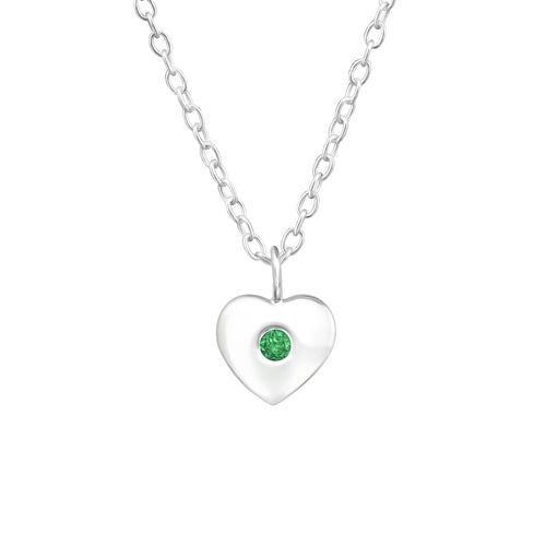 Children's Sterling Silver 'May Birthstone' Heart Necklace