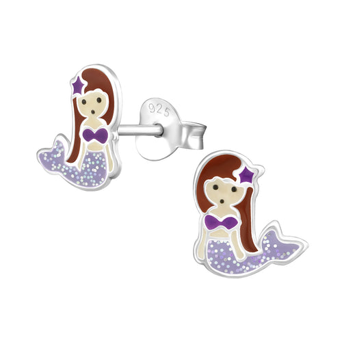Sterling Silver Purple Sparkle Mermaid Earrings