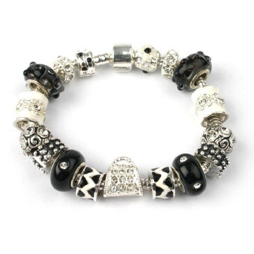 Adult's 'Midnight Sparkle' Silver Plated Charm Bead Bracelet