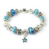 Adult's 'Misty Blue' Silver Plated Charm Bead Bracelet