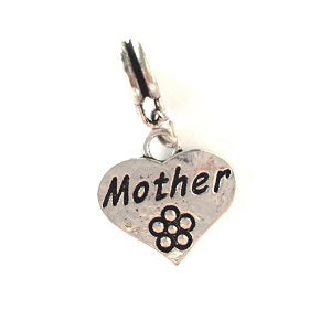 Silver Plated Mother Heart Drop Charm