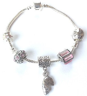 66bfdb2d44 Adult's 'Mother Half Heart Pink Sparkle' Silver Plated Charm Bracelet