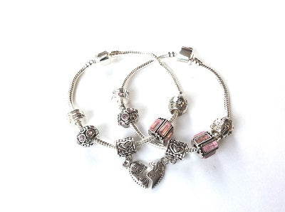 Children's 'Daughter Half Heart Pink Sparkle' Silver Plated Charm Bracelet