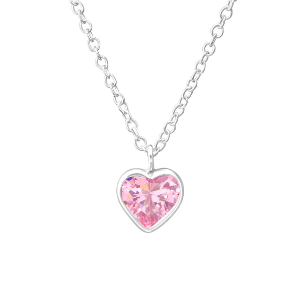 Children's Sterling Silver Pink Crystal Heart Pendant Necklace