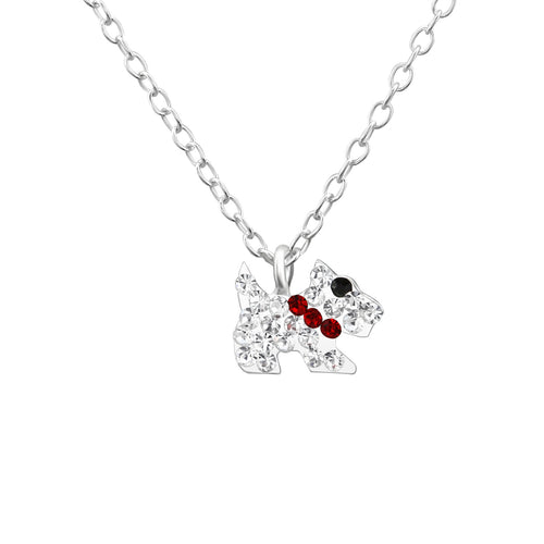 Children's Sterling Silver Crystal Dog Pendant Necklace
