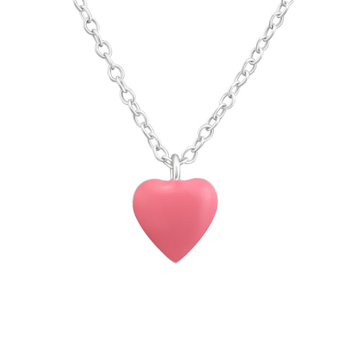 Children's Sterling Silver Pink Heart Pendant Necklace