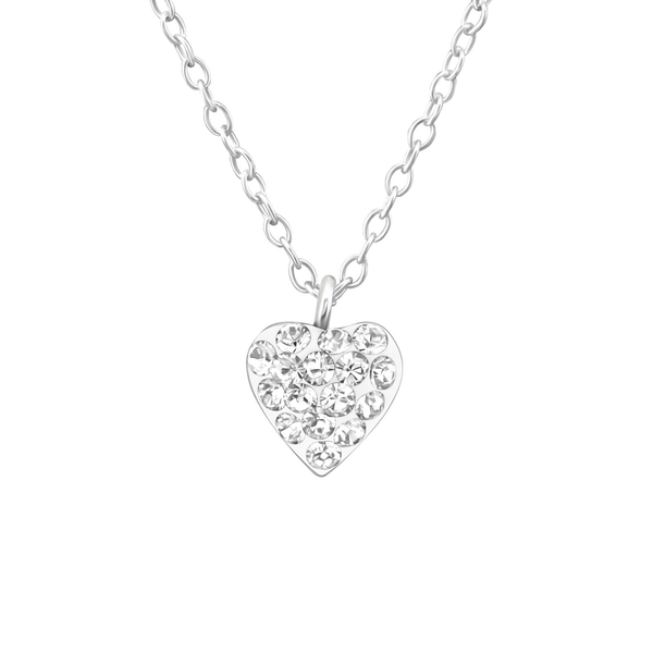 Children's Sterling Silver 'Crystal Heart' Pendant Necklace