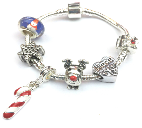 Children's Niece 'Christmas Wishes' Silver Plated Charm Bracelet