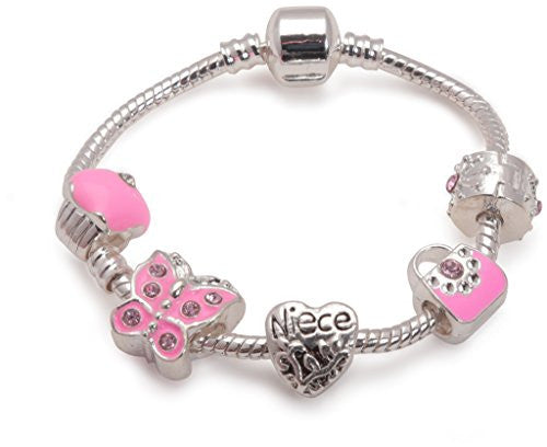Children's Niece 'Pretty in Pink' Silver Plated Charm Bead Bracelet