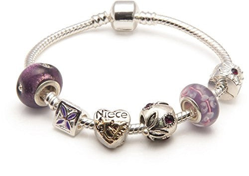 Adult's Niece'Purple Haze' Silver Plated Charm Bead Bracelet