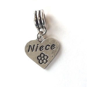 Silver Plated Niece Heart Drop Charm