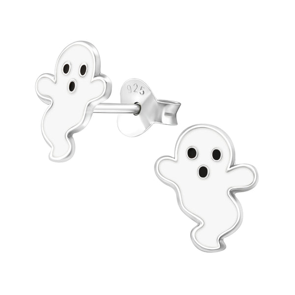 Children's Sterling Silver Halloween 'Not-So-Spooky Ghost' Stud Earrings
