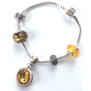 Teenager's 'November Birthstone' Topaz Coloured Crystal Silver Plated Charm Bead Bracelet