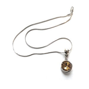 Silver Plated 'November Birthstone' Topaz Coloured Crystal Pendant Necklace