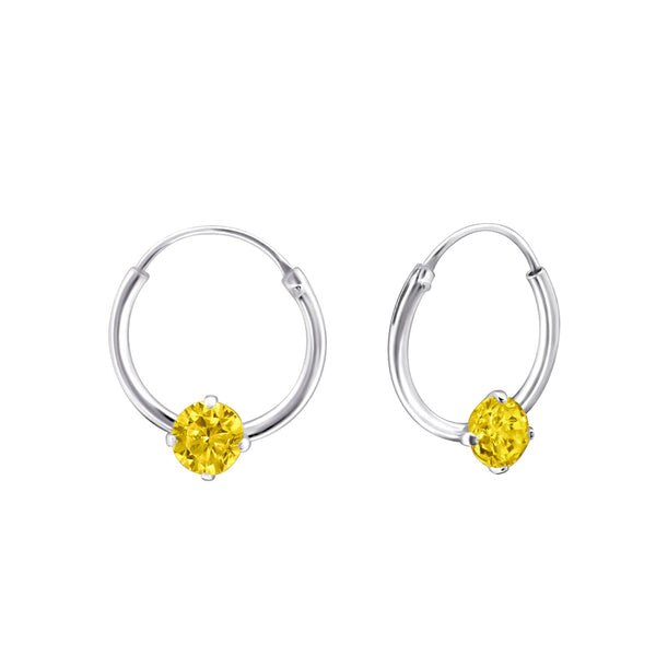 Children's Sterling Silver 'November Birthstone' Hoop Earrings