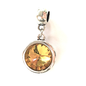 Adult's November Birthstone Topaz Coloured Crystal Drop Charm