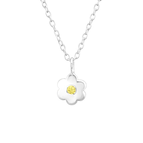 Children's Sterling Silver 'November Birthstone' Solid Flower Necklace