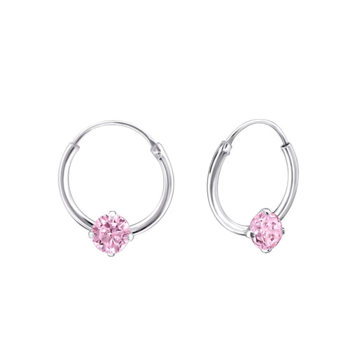 Children's Sterling Silver 'October Birthstone' Hoop Earrings